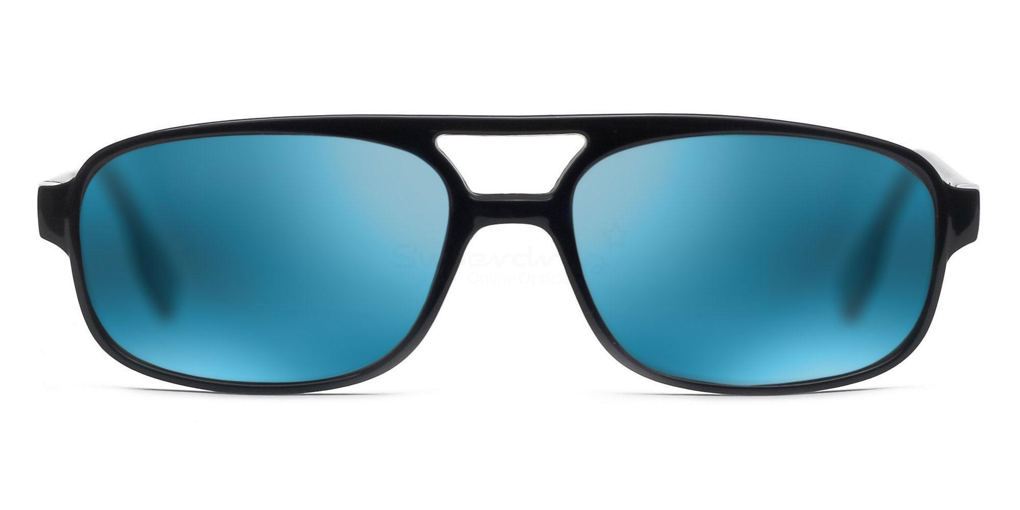 C01 Polarized Grey with Green Mirror P2395 - Black (Mirrored Polarized) Sunglasses, Neon