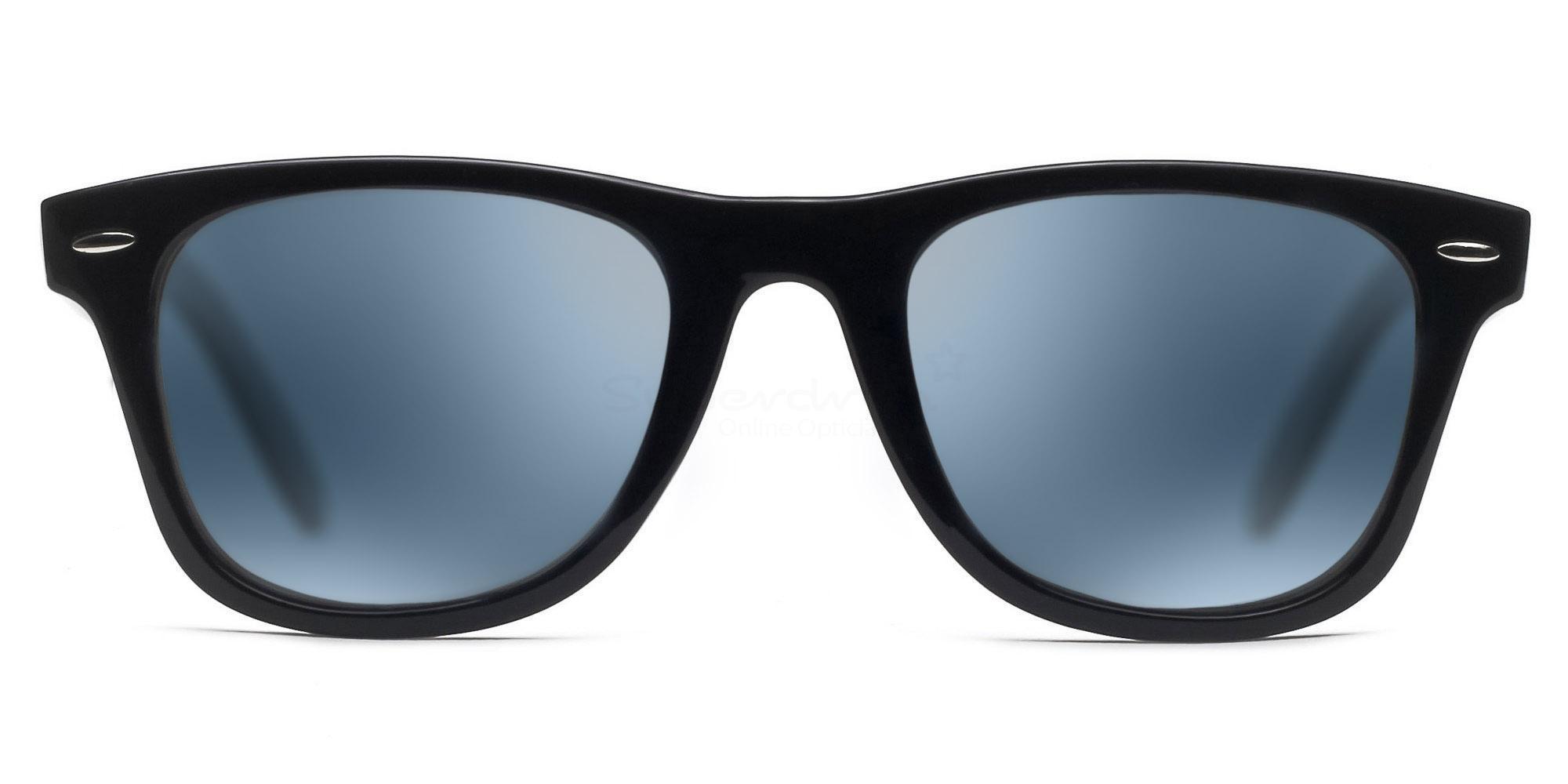 C01 Polarized Grey with Silver Mirror P2429 - Black (Mirrored Polarized) Sunglasses, Neon