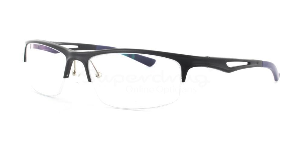 Black GM 231 Aluminium Glasses, Cobalt