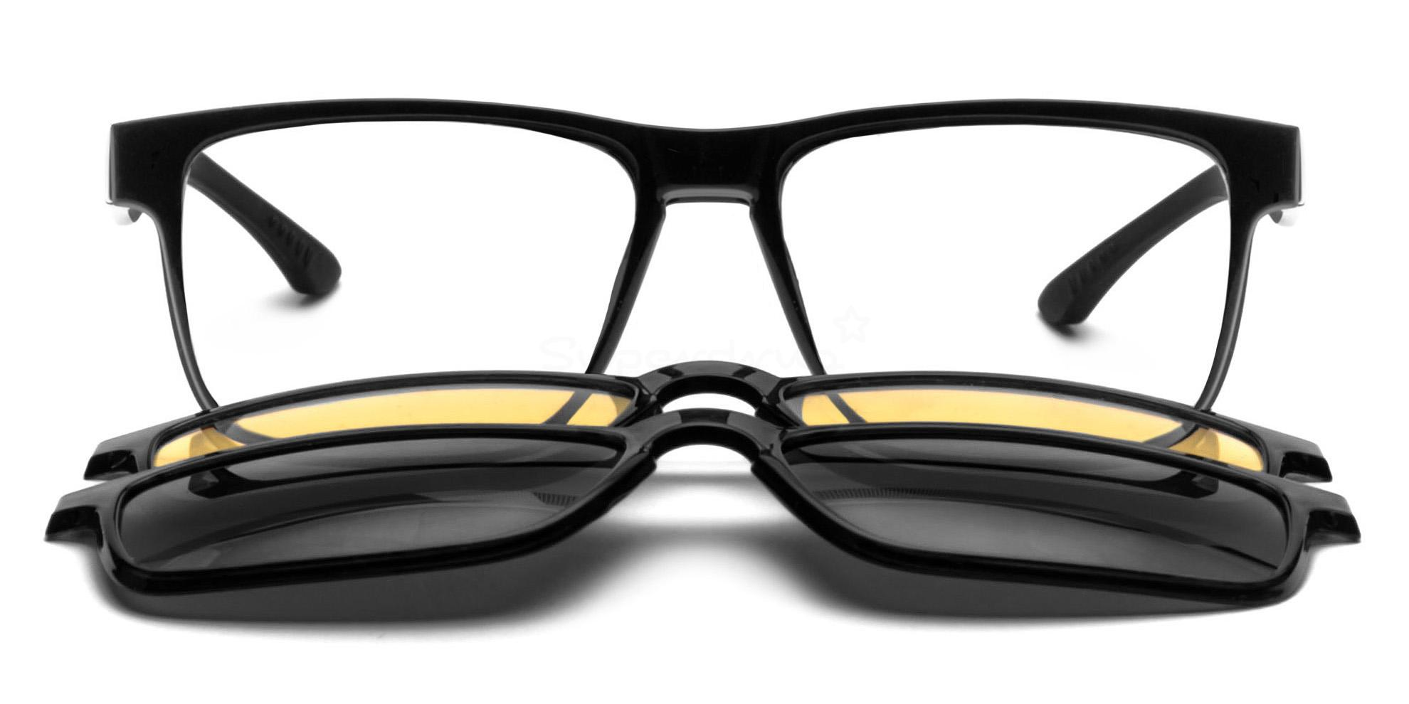 C1 5133 with 2X Magnetic, Polarised, Sunglasses Clip-on's Glasses, Neon