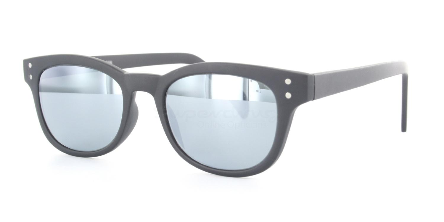 C02 Polarized Grey with Silver Mirror 2249 - Matte Black (Mirrored Polarized) Sunglasses, Neon