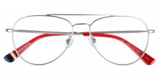 002 matte silver / navy / red