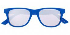 132 Matte solid blue front / Matte navy speckle fade to blue pattern out - Solid blue in Silver mirror - Cat 3