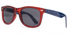 AFS002 Crystal red with blue patterned temples. Solid smoke lenses