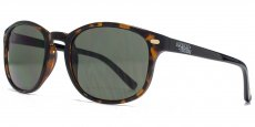 AFS014 Amber demi front and black temples. Dark green lenses.