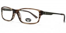 BRN brown marble effect with matt dark green metal temples