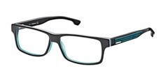 005 Black/transparent dark green blue/white, shiny black temples, dark green blue rubber insert