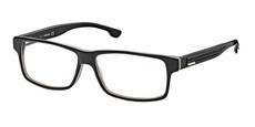 05A Black/transparent dark yellow/white/transparent grey, shiny black temples, black rubber insert