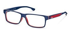 092 Blue/transparent red/white, shiny blue temples, red rubber insert