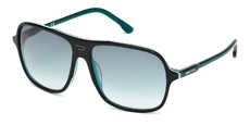 05W Black/transparent dark green blue/white, transparent dark green blue temples, gradient dark green blue lenses