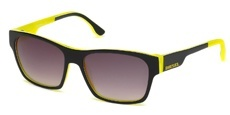 05B Black/white stripe/yellow, yellow/white stripe/black temple tips, gradient dark grey lenses