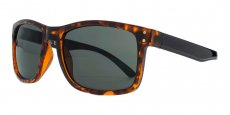 MUK147841 Brown tortoiseshell with black temples and gold studs. Green lenses.