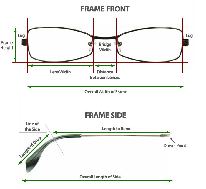 Eyeglass Frame Temple Size : Guide to measuring your glasses frame SelectSpecs.com