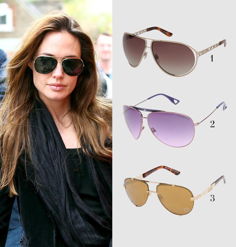 Анджелина Джоли в солнцезащитных очках Авиаторы
