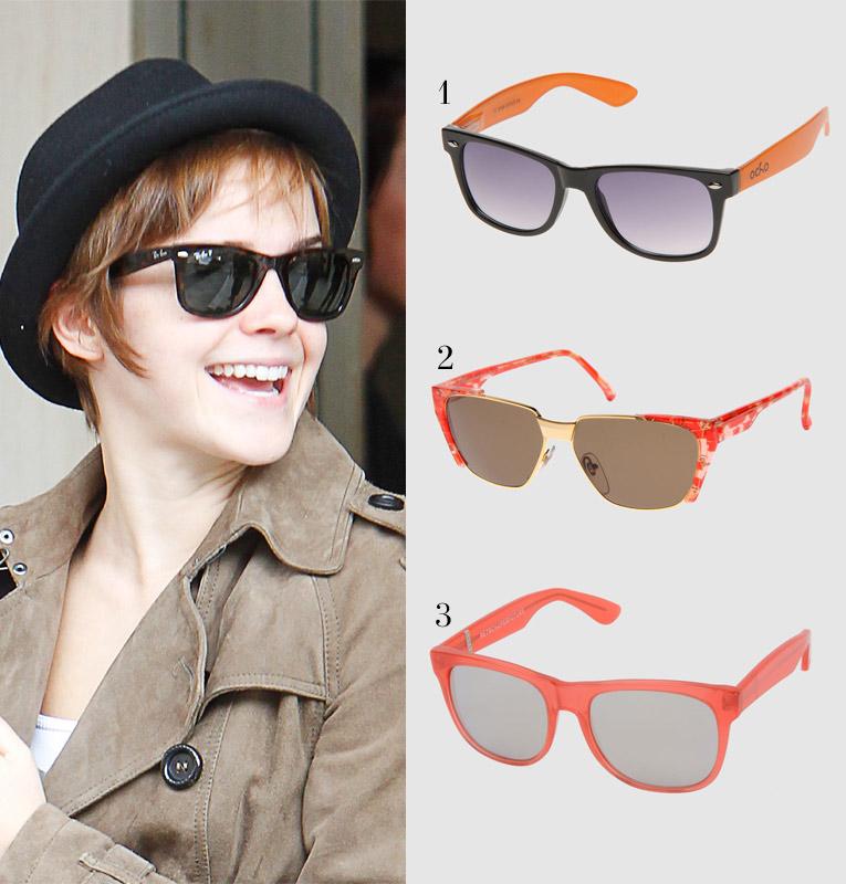 Эмма Уотсон в солнцезащитных очках Ray-Ban Wayfarer