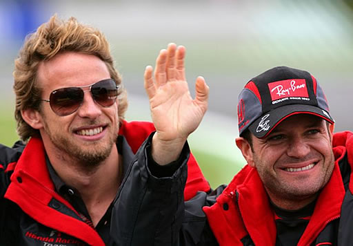 9bf32a10d5b Jenson wears Ray-Ban 3362 Cockpit Aviator Sunglasses alongside team mate  Rubens Barrichello